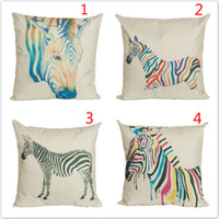 animal friendly fashion - Cotton linen pillow case watercolor Animal Zebra cushion covers hot sale fashion home car hotel sofa couches pillow case