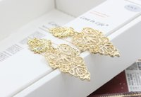 Wholesale 2016 new European Ms long section of Bohemia all match creative exaggerated hollow leaves Fashion Earrings