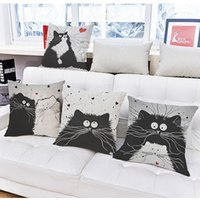 Wholesale New Vintage Cartoon Cat Linen Pillow Case Funny Cate Design Pillow Cover Home Hotel Pillowcase