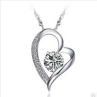 al por mayor corazón de plata diamantes de la cadena-Diamante de Lujo Cristal Amor Collar Pendiente Collar Mujeres Clavícula Cadena Collar Plata 925 plateado Joyería regalos amantes de boda al por mayor