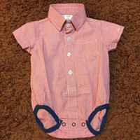 Wholesale Baby Boys Romper Clothes Red Plaid Gentleman Style Cotton Short Sleeve Turn down Collar Summer Infant Bodysuit