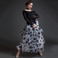 ballroom dancing waltz - 2016 New Women Stage Ballroom Dance Costumes Top Skirt Yarn Printing Flower Ballroom Dance Competition Dresses Waltz Dance Dress DQ5073
