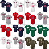 red sox xl al por mayor-50 Mookie Betts 34 David Ortiz 15 Dustin Pedroia Auténtico Jersey, Hombres # 34 Majestuoso MLB Boston Red Sox Colección Flexbase cosida s-4xl