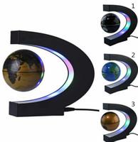 art e decoration - C Shape LED World Map Light Decor Magnetic Levitation Floating Globe Floating World Map Globe e LED Light inch globe KKA1248