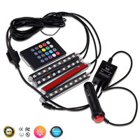 Wholesale 4 In Car inside atmosphere lamp LED Interior Decoration lighting RGB Color LED Wireless Remote Control chip V Charge Charming