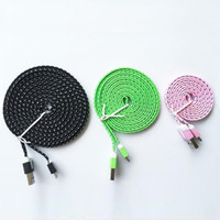 Cheap Micro USB Braided Flat USB Cable Best For Chinese Brand  Micro USB Charging Cord