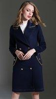 Wholesale Double Breasted Women Coat Elegant Long Sleeve Trench
