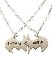 batman and robin - Hot Sale Unique Gold Silver Color BATMAN and ROBIN Best Friends or Couples Split Pendant Necklace Jewelry Best Gift