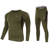 Wholesale Outdoor Tactical Winter Warm Sports Clothing Running T shirts and Pants Sets Hunting Underwear Breathable Thermal Underclothes