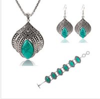 Wholesale gt gt gt Hot charming color ability choice Vintage Silver Plated Geometric Jewelry Set Turquoise Earrings Necklace Bracelet wk