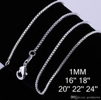 Wholesale Fashion Sterling Silver Plated Beautiful Necklaces mm box chain Necklace Jewelry Size inch C007