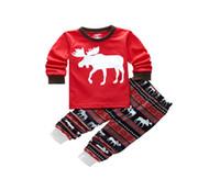 Wholesale Baby Boy Girls Kids Xmas Reindeer Pyjamas Sleepwear Nightwear Pajamas Set