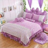 Wholesale Luxury Cotton Bedding sets Duvet cover set Wedding bedding Lace Bed Skirt set pricess bed bedding set