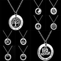 achat en gros de meilleurs arbres de bijoux-Forever In My Heart Ring Colliers La vie de membre de la famille de l'arbre Mom Big Little Sister Paix Meilleur ami pendentif pour les femmes Bijoux 161757