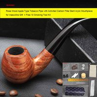 apple wood for smoking - Rose Wood Apple Type Tobacco Pipe with Activited Carbon Filter Bent Arylic Mouthpiece for masccline Gift ad0018 Free Smoking Tools Kit
