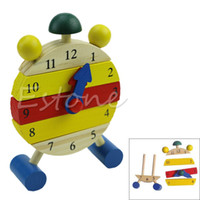 Wholesale Baby Blocks Early Learning Building Children Educational Wooden Toy Clock New