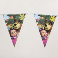 banner settings - cartoon masha and the bear theme party paper flags set banner including small flags kids birthday party favor m
