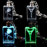 Tours d'éclairage dirigé France-Flower Eiffel Tower Embedded Square Crystal LED Light Charm Key Chain Key Ring Keyring