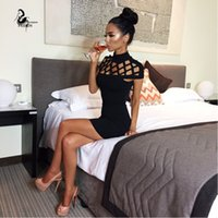 Wholesale new autumn black red high neck evening party dress sexy short sleeve hollow out top women bodycon bandage dresses