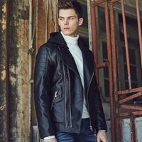 Wholesale Mens Slim Short Hooded Leather Jackets Men Stand Collar Coats Homme Masculine Motorcycle PU Leather Jacket Casual Hoodie Brand Clothing