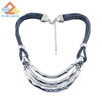 arc antique - new retro fashion glossy metal arc wax rope necklace antique silver