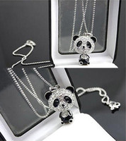 Bijoux de panda Prix-Jolie émail en strass Panda Pendentif Collier Femmes Cristal Accessoires Chandail Colliers Bijoux Livraison gratuite