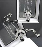 Pendant Necklaces Bohemian Women's Pretty Enamel Rhinestone Panda Pendant Necklace Women Crystal Accessories Sweater Necklaces Jewelry Free Shipping