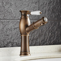 antique faucet valve - DHL Antique Vessel Ceramic Valve Pull out pull down Single Hole with Oil rubbed Bronze Bathroom Sink Faucet HS321