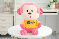 baby monkey dolls - 2016 New quot Lovely Waves Kiss Monkey Plush Dolls Cute Monkey Baby Plush Toy Cartoon Promotional Gifts Wedding Dolls
