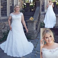 A-Line Reference Images 2017 Spring Summer 2017 Lace Off The Shoulder Plus Size Wedding Dresses A-line Maxi Women Country Vintage Bridal Gowns Fat Dress For Brides