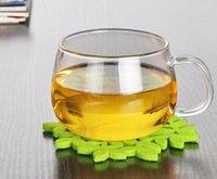 Wholesale coffee milk glass cup with handle high borosilicate tea cups and mugs ML