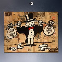 Wholesale Alec Monopoly Pop Art Handcraft Abstract Graffiti Art oil painting Double Pack USD Home Decor On High Quality Canvas size can be customized