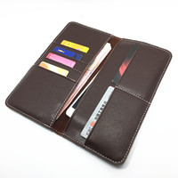 Wallets Men Credit Card 2016 New Mens Real Leather Vintage Manual Design Smooth Brown Wallet High Quality Fold Soft leather Long Clutch Bag Phone Wallet For Mans