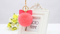 Wholesale 20 color mm Fur Pom Pom Bow Keychain Key Ring Rhinestone Real Rex Rabbit Fur Ball Key Chain Women PomPom Plush Keyring G H16120304