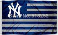 Wholesale MLB New York Yankees Stripe x5 FT X90CM Banner D Polyester flag
