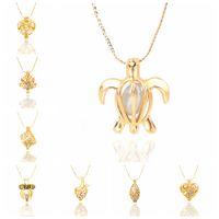 achat en gros de plaqué colliers de perles d'or-Nouveau chaud merveilleux Femmes Amour naturelle perle Oyster Drop Or Plated pendentif bijoux Collier Livraison gratuite