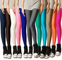 ballet leggings - 2016 Sexy Solid Candy Neon Leggings Plus Size Leggings for women High Stretched Elastic Leggings Fitness Ballet Dancing Paint
