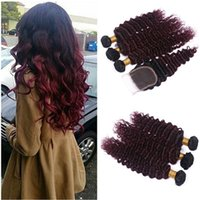 acid red wine - Two Tone B J Burgundy Red Ombre Deep Wave Human Hair With Closure Wine Red Ombre Brazilian Virgin Hair With x4 Lace Closure