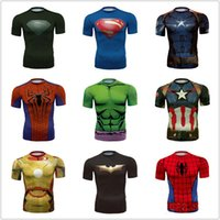 Wholesale compression t shirt men body engineer bodybuilding Spiderman Venom Ironman Superman Captain America X man Punisher Marvel T shirt Avengers