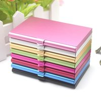 Wholesale 3jx Solid Color Aluminum Alloy Mini Briefcase Cards Holder Business Metal Square Card holders Cases Compact Portable High Quality