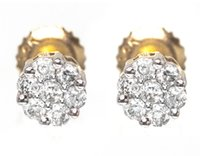pendientes de diamantes de oro amarillo 14k al por mayor-14k Oro Amarillo Hombres / Señoras Round Diamond Cluster Stud Stud Earrings 5mm