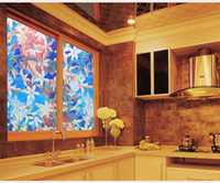 Wholesale Colored orchid pattern flowers D glass electrostatic stickers window grilles stickers bathroom kitchen office window stickers