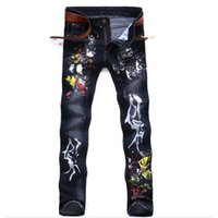 Wholesale Brand Designer Mens Printed Jeans Pants Fashion Painted Denim Joggers For Male Slim Fit Straight Jean Trousers Ink Splash