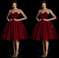 Wholesale 2017 Sexy Prom Dresses Party Dress Prom Dress Mini Short Burgundy Wine Red Velvet Cheap New Arrival Unique Prom Gown Party Gown
