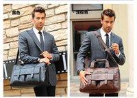 Uomini Vera Pelle Borsa Nero Marrone computer portatile della cartella Shoulder Bag Messenger Bag per gli uomini 2017 all'ingrosso