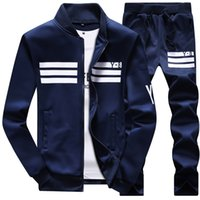 Wholesale The spring and autumn new men s sportswear suit long sleeved coat sweater baseball student male sports suit jacket trousers