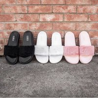 Wholesale New RIHANNA LEADCAT FENTY Slipper Rihanna Leadcat Fenty Faux Fur Slide Sandal Fashions Women Fenty Slippers Black Slide Sandals Fenty Slides
