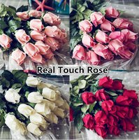 Wholesale Fresh Real Touch rose Bud Artificial silk wedding Flowers bouquet Home decorations for Wedding Party or Birthday
