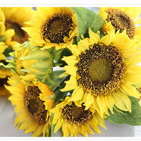 Wholesale golden sunflower silk flower bunch artificial inch tall inchflower head size in faux for home garden shoppingmall decorations
