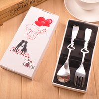 Wholesale Small gifts creative activity promotion gifts stainless steel fork fork spoon scoop of tableware suit love White box